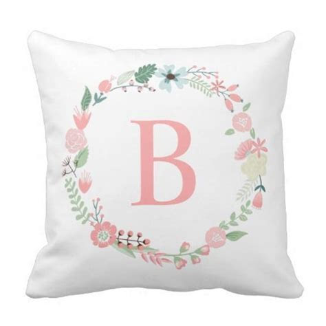 Delicate Floral Monogrammed Wreath Throw Pillow   Pillows