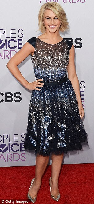 Demure: Julianne and host Kaley Cuoco both went for gorgeous gowns in the real sense of the word