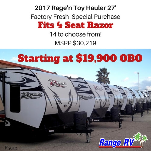 Special Price on 2017 Rage'n Toy Haulers Now!