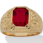 Men's 2.75 TCW Simulated Ruby 14k Gold-Plated Ring