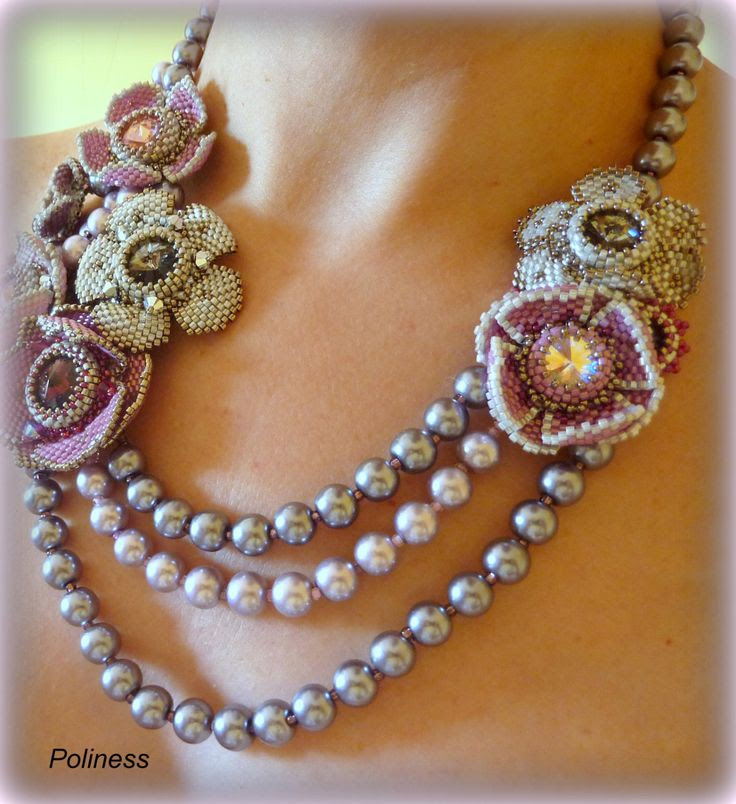 Handmade jewelry  Beaded necklace  Embroidery by PolinessJewelry, $299.00