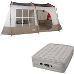 Wenzel Kodiak 9-Person Family Camping Tent w/ Insta-Bed Queen Air Mattress Pump by VM Express