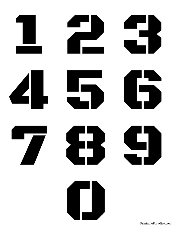 Printable Stencils for Numbers 0-9 on One Page