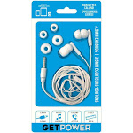 Getpowergp-35mm-whi Music and Calling Earbuds With Extra Ear Gels, White, 3.5 Mm