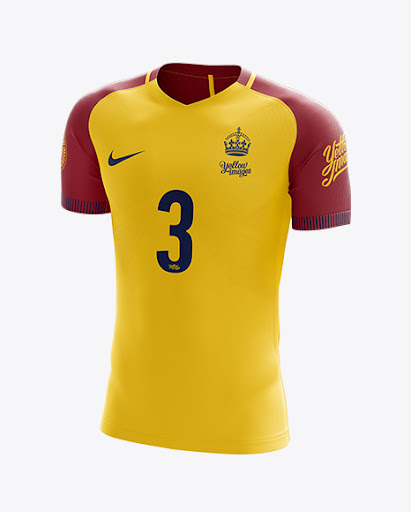 Download Free Men's Soccer Team Jersey mockup (Half Side View) (PSD)