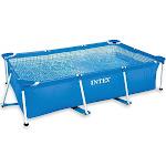 Intex Rectangular Frame Above Ground Backyard Swimming Pool, Blue
