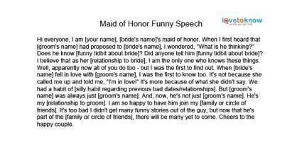 Free Maid of Honor Speeches   LoveToKnow