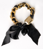 Rachel Leigh Black Ribbon Chain Bracelet
