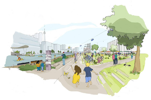An artist's illustration shows Sidewalk Labs's Quayside redevelopment of the Toronto waterfront.