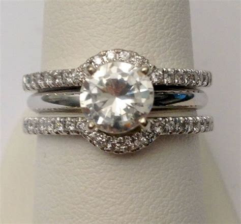 Solitaire Enhancer Diamonds Ring Guard Wrap White Gold