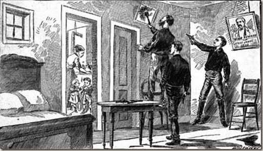 Desenho mostrando o assassinato de Jesse James por Robert Ford