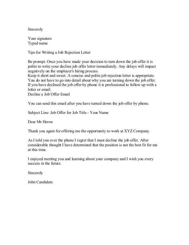 13 decline letter sample resumed job