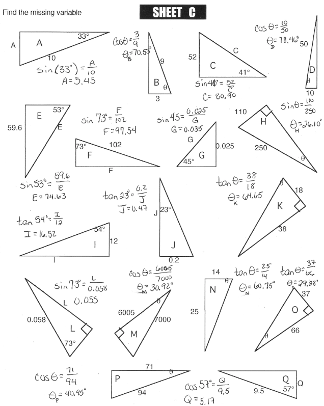 Printable Worksheets » Right Triangle Trig Worksheets  Printable Worksheets Guide for Children