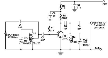 Circuits Apmilifier: FM booster schematic circuit with