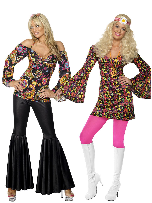 ladies hippy fancy dress costume hippie womens 1970s 60's