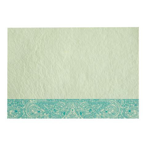 TURQUOISE HANDMADE COTTON EMBOSSED WEDDING CARD : W 8234K