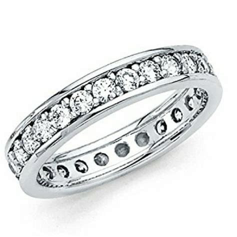 White Gold 14k Solid Eternity Size 5 Women's Wedding Band