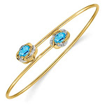 14K Yellow Gold 1.00 Carat (ctw) Natural Swiss Blue Topaz Bangle Bracelet