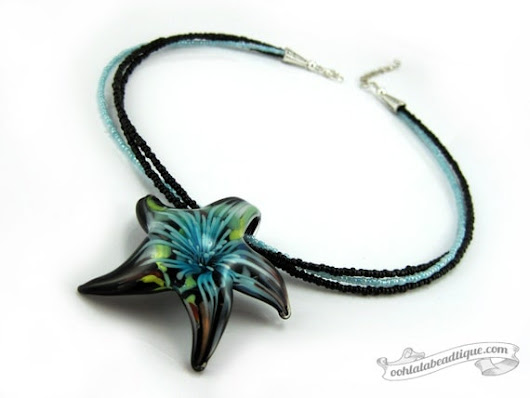 Black Starfish necklace starfish pendant lampwork necklace