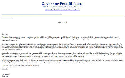 Ari Kohen's Blog — I got a lovely note from Governor Pete Ricketts...