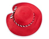 Red hat , Custom hats , Straw hat for women , decorated with a two-tone braided ribbon & a bow.