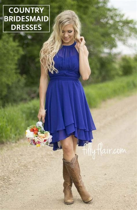 Beautiful country bridesmaid dresses with cowboy boots for