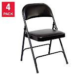 Alera Steel Folding Chair w/Padded Seat, Graphite, 4-pack