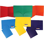 JAM Primary - Pocket folder - 2 compartments - Letter - for 100 sheets - blue, yellow, purple, red, green, orange (pack of 6)