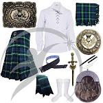 Highland Kilts Outfit Lamont Tartan Scottish Thistle Accessories Set 10 pcs