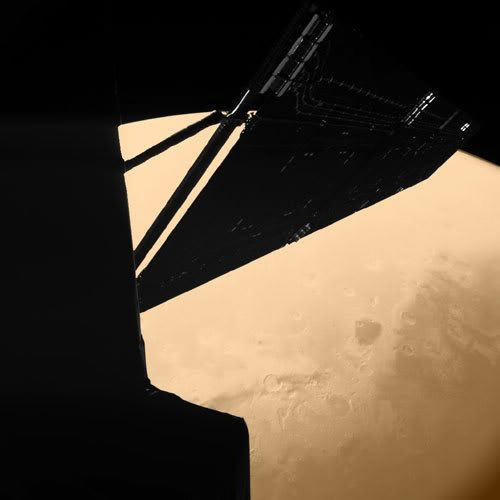 On February 25, 2007, this image was taken by the Philae lander that's currently attached to the European Space Agency's Rosetta spacecraft. Launched on March 2, 2004, Rosetta passed by Mars for a gravitational assist as it heads for comet 67P/Churyumov-Gerasimenko, where it will arrive this coming May. Philae will be dropped onto the comet's nucleus to study it during the 1½ year-long mission.