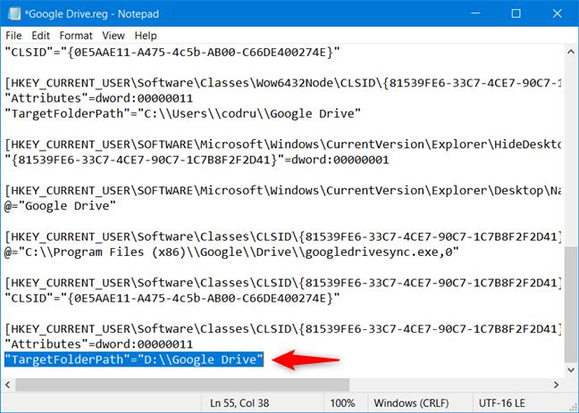 Reemplace los valores de TargetFolderPath con la ruta a la ubicación de su carpeta personalizada de Google Drive