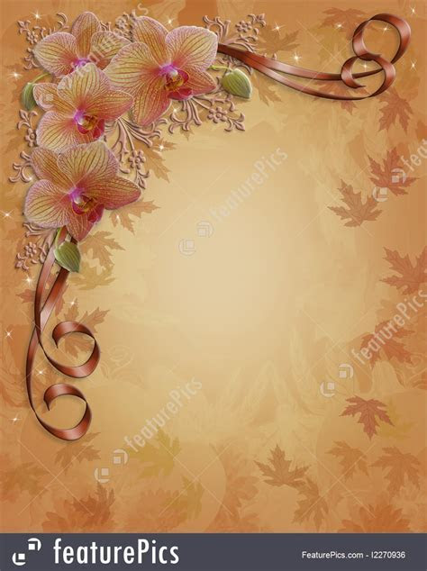 Fall Autumn Orchids Floral Border Illustration