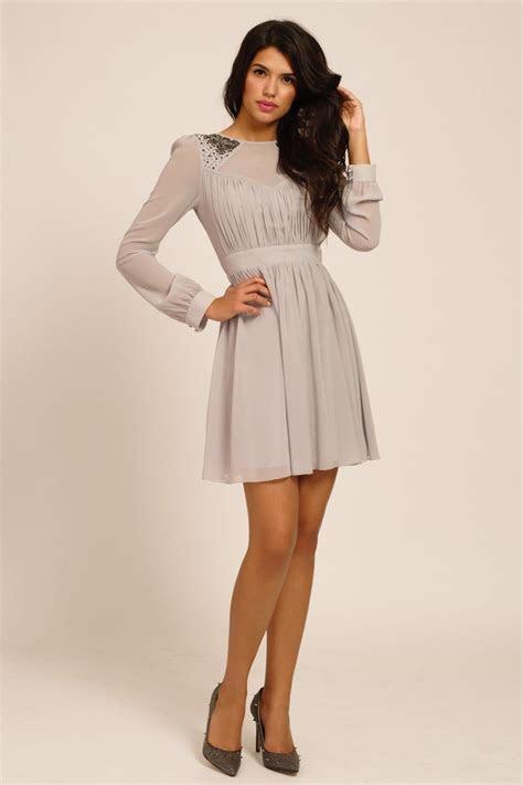 Grey Embellished Long Sleeve Fit & Flare Dress