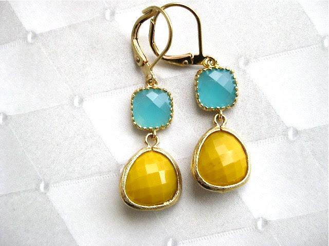 Gold Aqua Dangle Earrings Bridesmaid Wedding Party - PluffMudDesigns