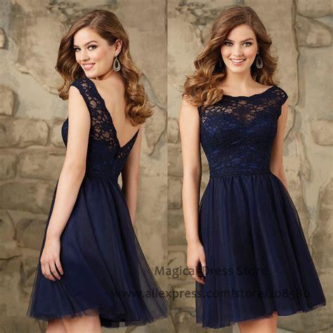 Modest Short Navy Blue Bridesmaid Dresses Lace Abiti