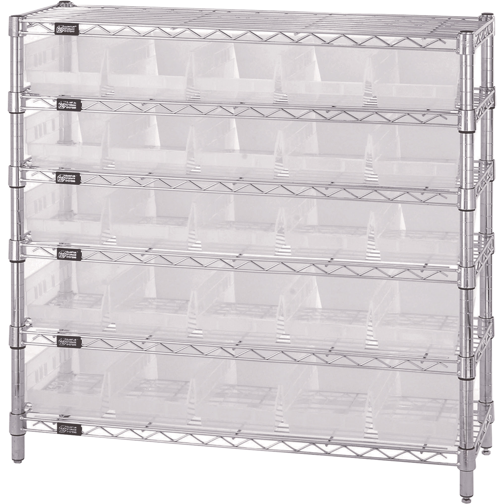 Quantum Storage Wire Shelving System with 25 Clear Bins — 6-Shelf ...