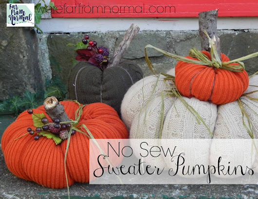 No Sew Sweater Pumpkins | Far From Normal