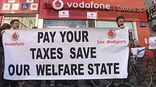 Protest outside Vodafone in Oxford St