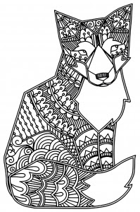 cute fox with roses  foxes  coloring pages for adults  justcolor