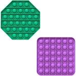 Fidget Pack Pop Pop – 2 pcs Pop Up Fidget Toys for Kids – Stress Relief Fidgets – Anti Stress Squeeze Toys (2 x Orange) (Set: Green + Purple)