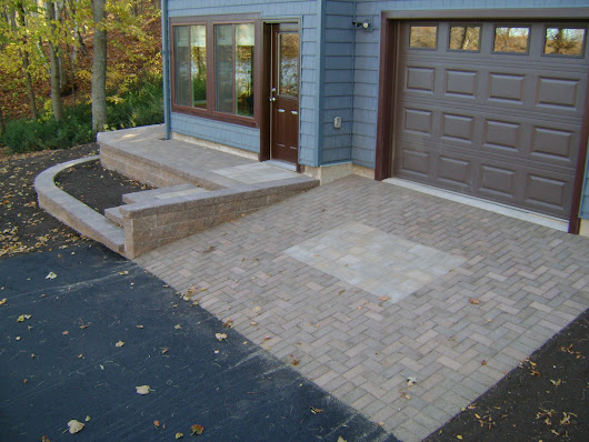 Brick Driveway, Retaining Walls, and Stairs | Oasis Landscapes | West Fargo | Fargo | Moorhead