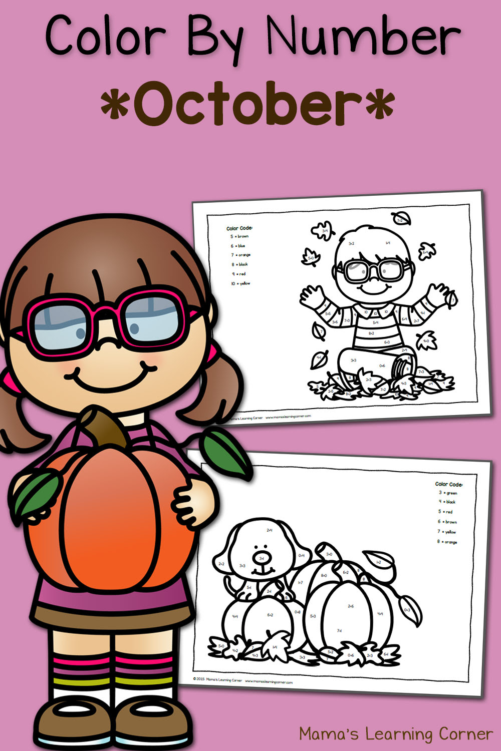 Color By Number Worksheets: October! - Mamas Learning Corner