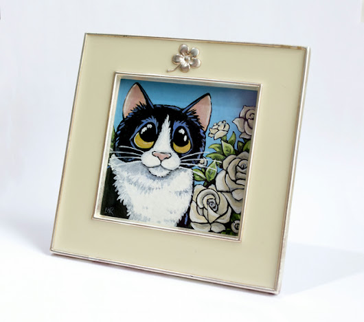 Small Tuxedo Cat & Roses Painting in Frame