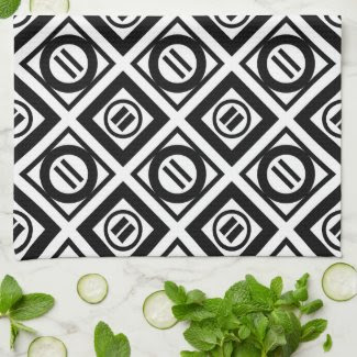 Black Equal Sign Geometric Pattern on White Towel