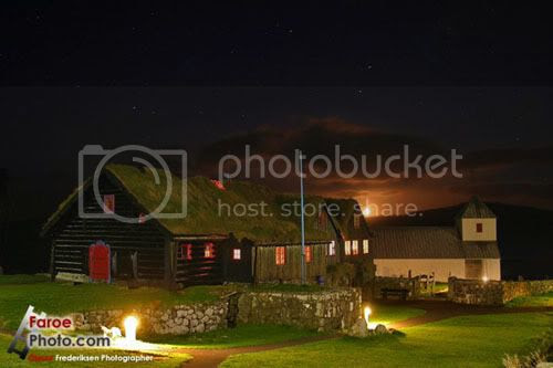 Faroe Islands, Kirkjubø by Night, with traditional grass covered roofs