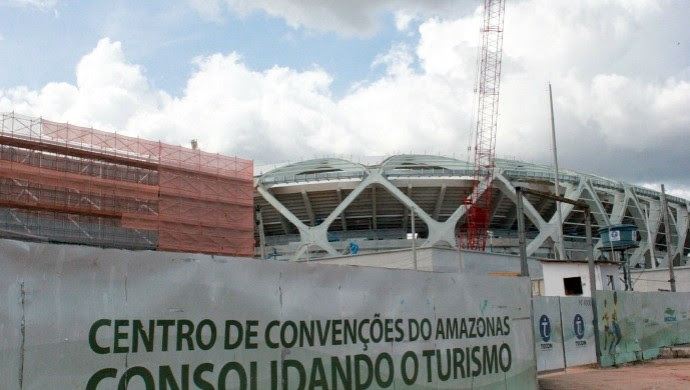 Centro de convenções do Amazonas - morte do operário (Foto: Rômulo Sousa)