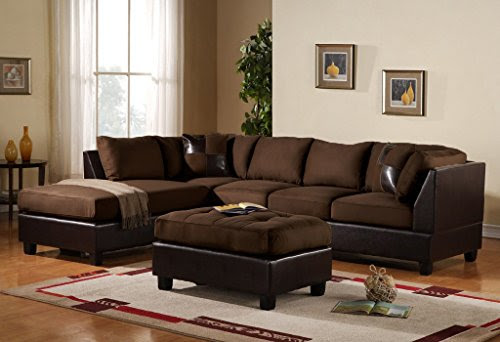 3 Piece Modern Reversible Microfiber Faux Leather Sectional Sofa