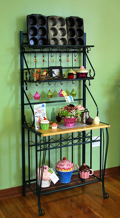 Baker's rack with cupcake knick-knacks
