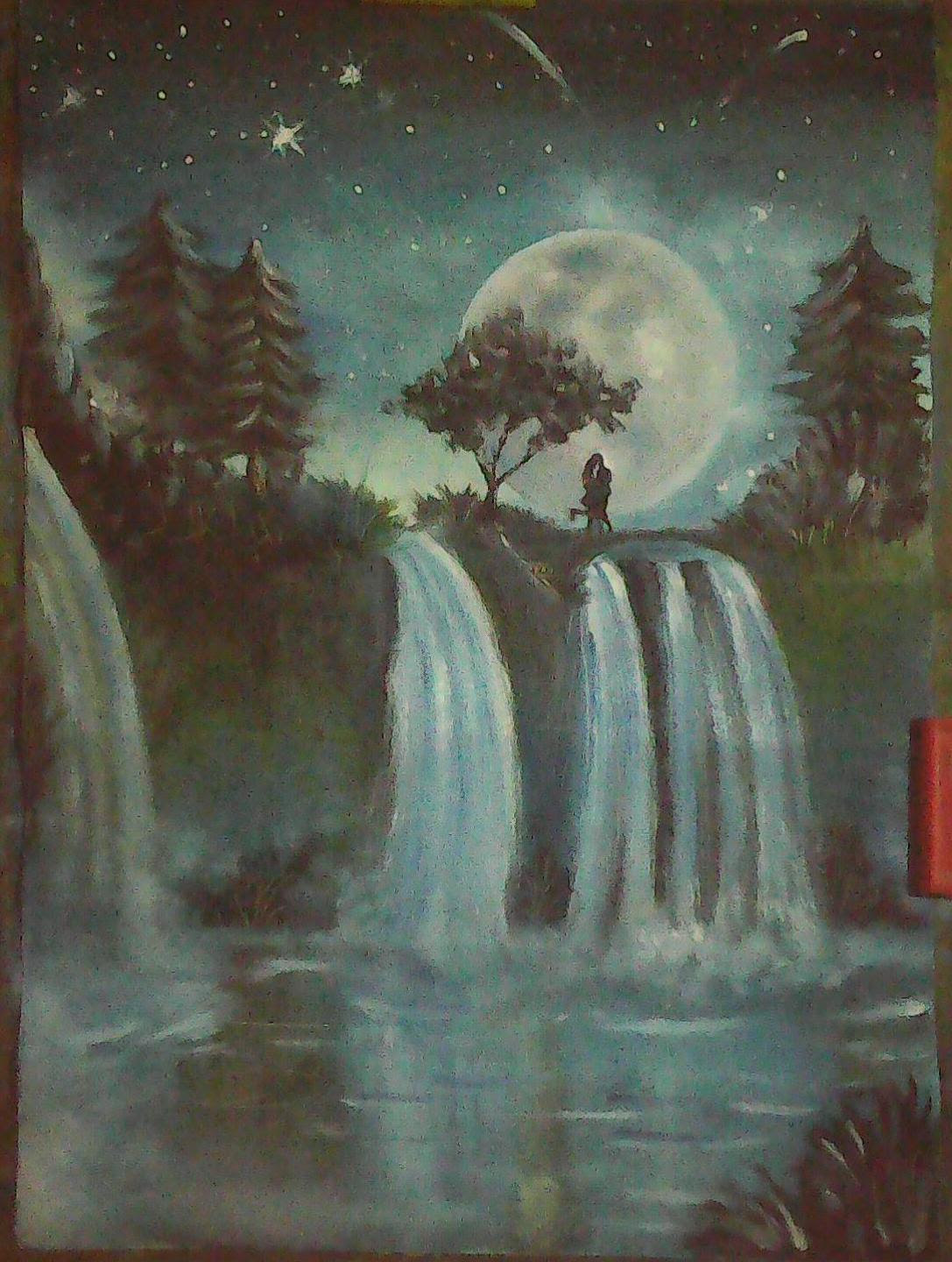 Oil Painting Of Waterfall And Night View Desipainters Com
