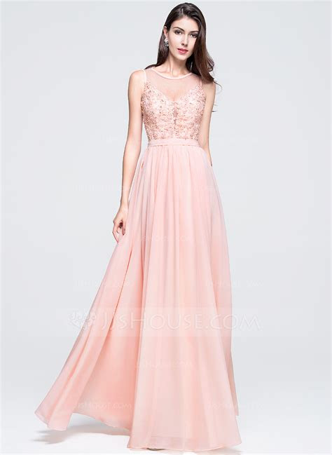 lineprincess scoop neck floor length chiffon prom dress